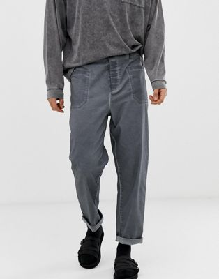 Image 1 of ASOS DESIGN relaxed chinos in charcoal oil wash with front pockets