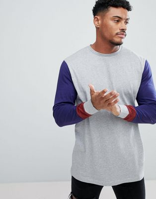 ASOS DESIGN relaxed fit long sleeve t-shirt with contrast arms and cuff