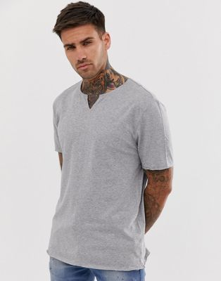 Image 1 of ASOS DESIGN relaxed fit t-shirt with raw notch neck in gray
