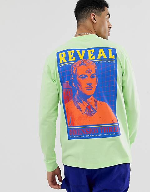 ASOS DESIGN relaxed long sleeve t-shirt in washed neon and heavy weight fabric with large back print