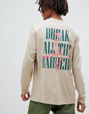 Image 1 of ASOS DESIGN relaxed long sleeve t-shirt with graffiti back print