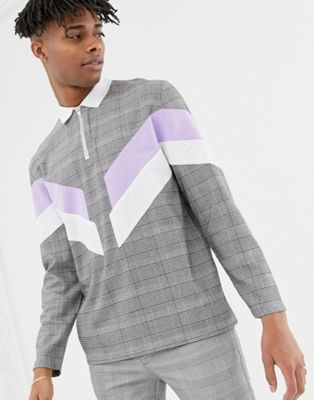 ASOS DESIGN relaxed long sleeve woven check polo with cut and sew panels and zip neck