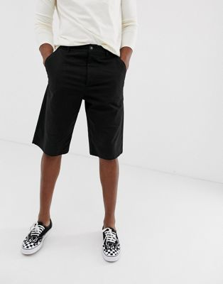 Image 1 of ASOS DESIGN relaxed longer chino shorts in black