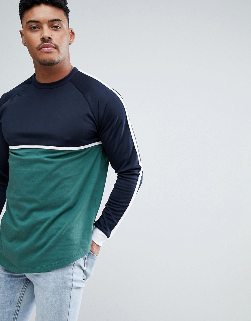 Asos Design Relaxed Longline Long Sleeve T Shirt With Contrast Yoke In Woven Fabric And Curve Hem by Asos Design