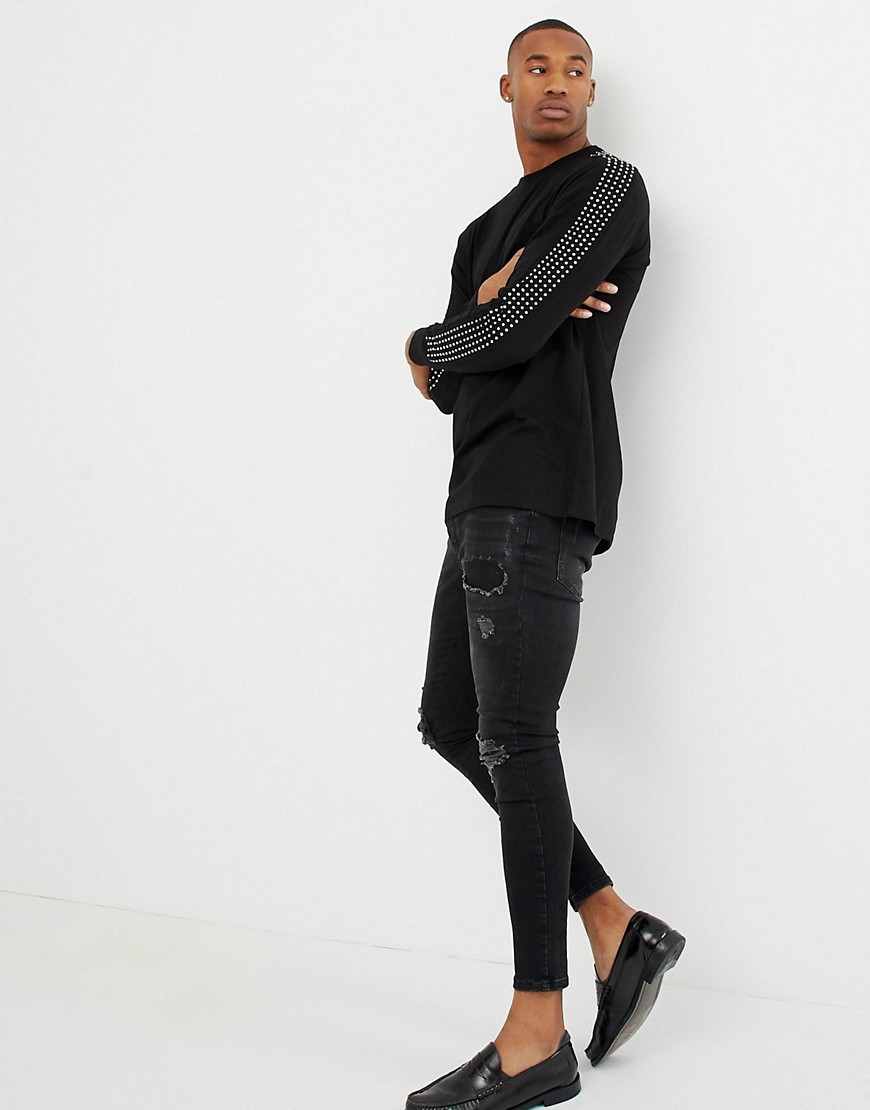 Asos Design Relaxed Longline Long Sleeve T Shirt With Embellished Gems  In Black by Asos Design