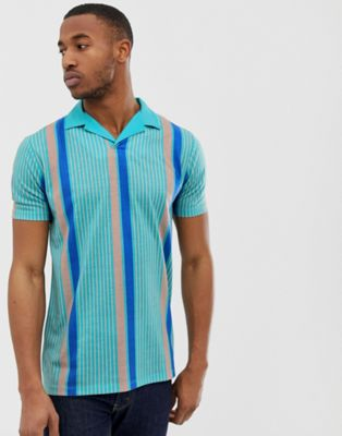 ASOS DESIGN relaxed longline revere polo with vertical stripe