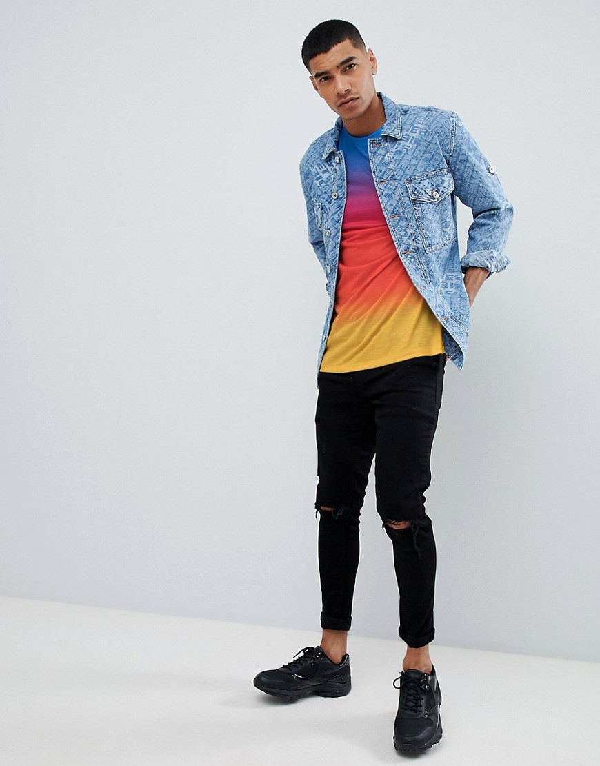 Asos Design Relaxed Longline T Shirt With Ombre Dip Dye Wash by Asos Design