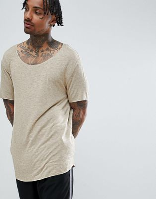 Image 1 of ASOS DESIGN relaxed longline t-shirt with scoop neck and curved hem in drapey interest fabric in beige