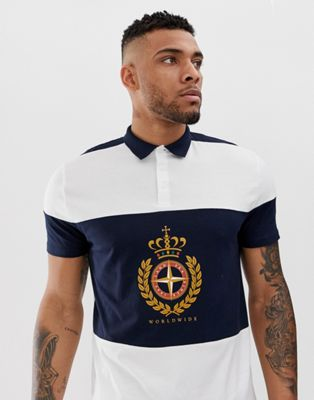 Image 1 of ASOS DESIGN relaxed polo with color blocking and nautical print