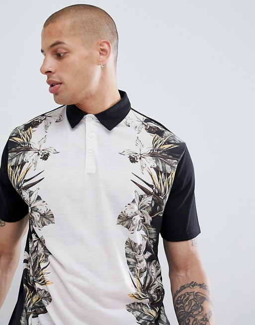 Image 1 of ASOS DESIGN relaxed polo with floral print