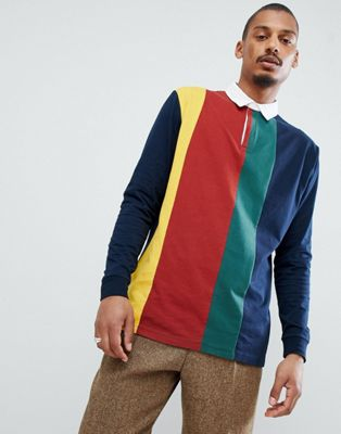 Image 1 of ASOS DESIGN relaxed rugby polo shirt with vertical colour block in navy
