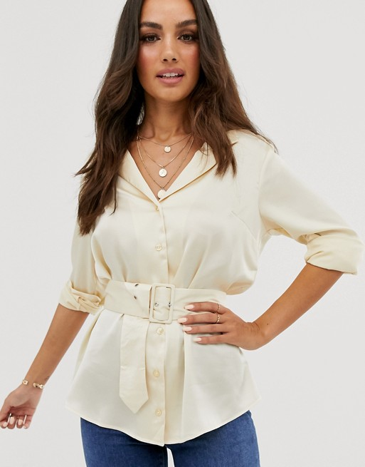 satin long sleeve shirt with belt