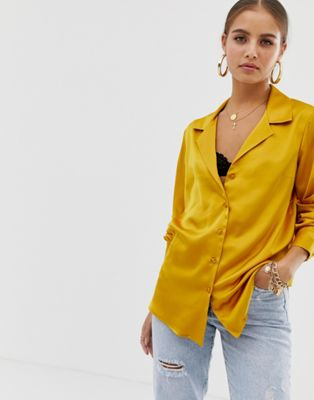 ASOS DESIGN relaxed satin long sleeve shirt