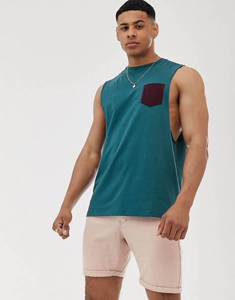 ASOS DESIGN relaxed sleeveless t-shirt with dropped armhole and contrast pocket in green