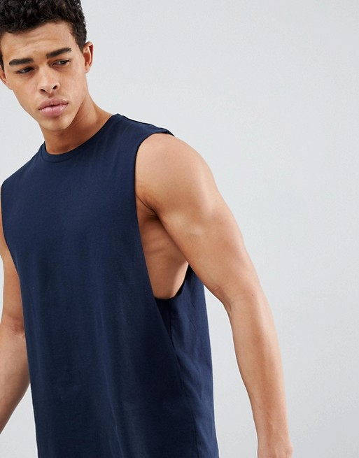 ASOS DESIGN relaxed sleeveless t-shirt with dropped armhole in navy