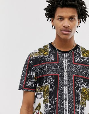 Image 1 of ASOS DESIGN relaxed t-shirt with all over baroque print