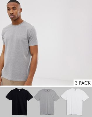 Image 1 of ASOS DESIGN relaxed t-shirt with crew neck 3 pack multipack saving