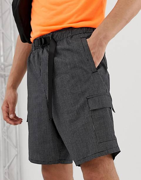 ASOS DESIGN relaxed utility shorts in grid check