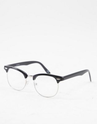 ASOS DESIGN retro glasses in black with clear lens
