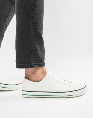 Image 1 of ASOS DESIGN retro plimsolls in white canvas