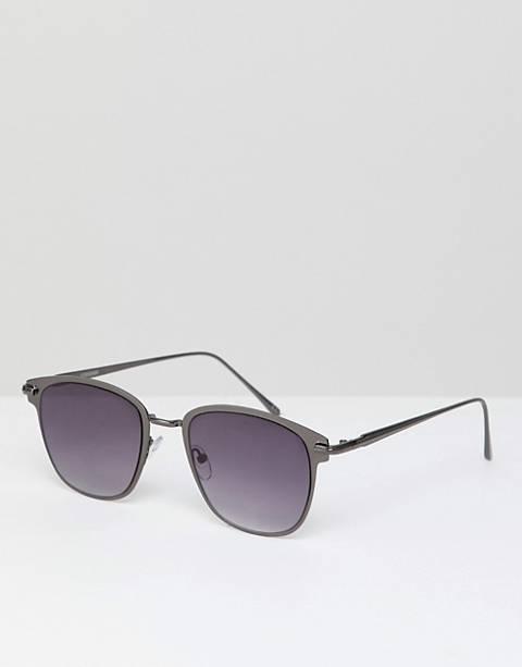 ASOS DESIGN – Retro-Sonnenbrille in Graumetall mit marineblauen Gläsern mit Farbverlauf