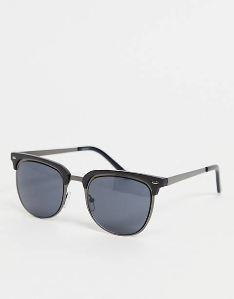ASOS DESIGN retro sunglasses in gunmetal & matte black