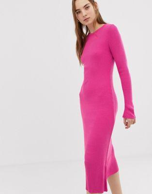 Image 1 of ASOS DESIGN rib knit a-line midi dress