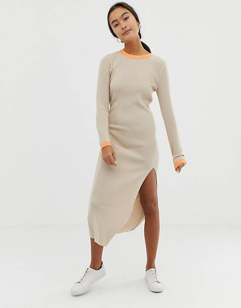 ASOS DESIGN rib knit dress with front split