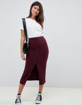 ASOS DESIGN rib popper midi skirt