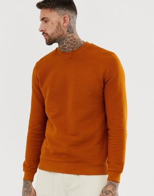 Image 1 of ASOS DESIGN ribbed sweatshirt in dark orange