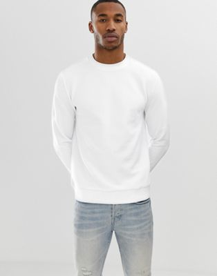 Image 1 of ASOS DESIGN ribbed sweatshirt in white