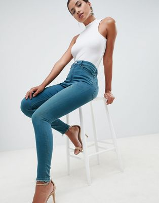 ASOS DESIGN Ridley high waist skinny jeans in mid green blue tone wash