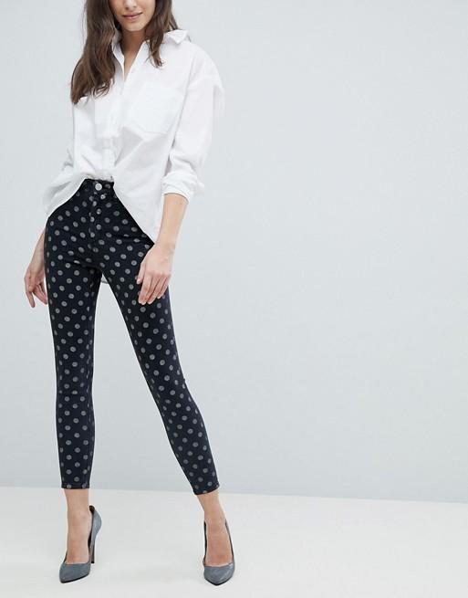 Image 1 of ASOS DESIGN Ridley high waist skinny jeans in polka dot print