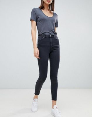 ASOS DESIGN Ridley high waist skinny jeans in washed black