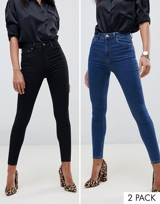 ASOS DESIGN – Ridley – Svarta och mellanblå skinny jeans med hög midja i 2-pack – Spara 16%
