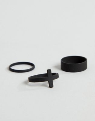ASOS DESIGN ring pack with cross in matte black