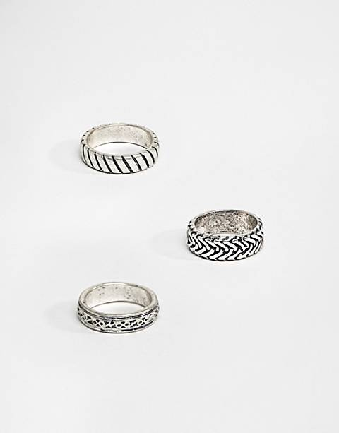 ASOS DESIGN ring pack with embossing in burnished silver tone