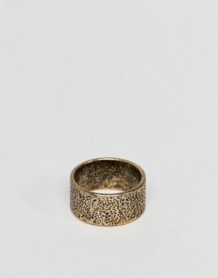 ASOS DESIGN ring with battered finish in burnished gold