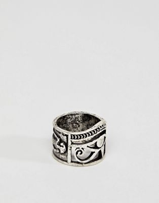ASOS DESIGN ring with egyptian cut out in burnished silver