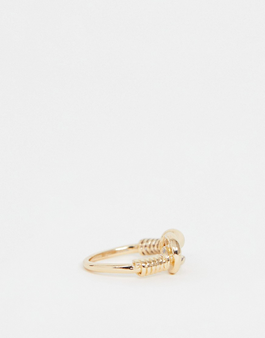 Asos Design Ring With Knot Detail In Gold Tone by Asos Design