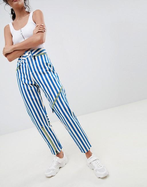 mit Streifen mehrfarbig ASOS Reißverschluss Mom Ritson Steife Neon Jeans DESIGN und 4nnqXRw6