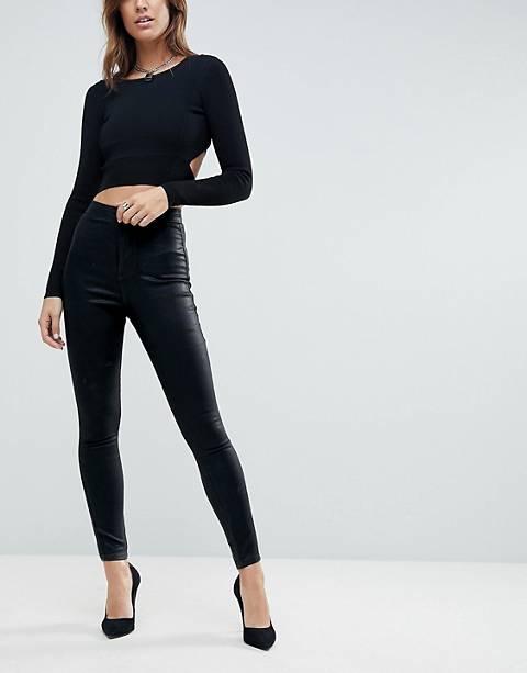 ASOS DESIGN Rivington high waist denim jeggings in black coated