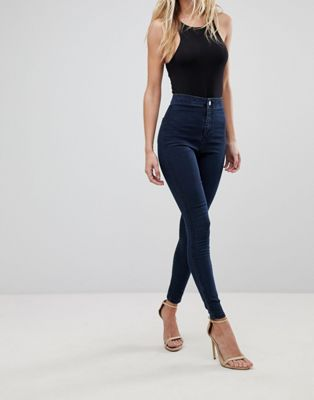ASOS DESIGN Rivington high waist denim jeggings in flat indigo blue