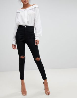 ASOS DESIGN Rivington high waisted jeggings with frayed knee rip detail