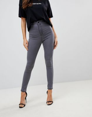 ASOS DESIGN – Rivington – Jeggings mit hoher Taille in grauer New Grey-Waschung