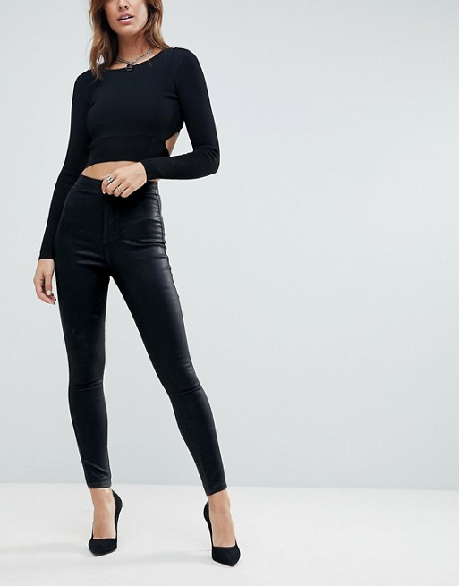 ASOS DESIGN – Rivington – Schwarz beschichtete Jeans-Jeggings mit hohem Bund