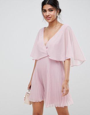 ASOS DESIGN - Robe courte avec jupe plissée et manches évasées