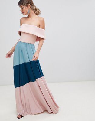 Image 1 sur ASOS DESIGN - Robe longue plissée en néoprène style bardot effet color block