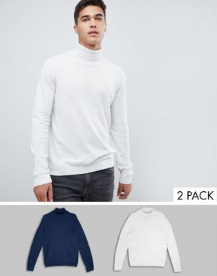Image 1 of ASOS DESIGN roll neck sweater in navy / white 2 pack save
