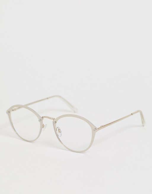 ASOS DESIGN round glasses in gold with laid on clear lens